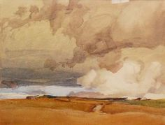 Archibald Knox (1864 - 1933) - A large watercolour on paper depicting landscape scene below stormy sky, probably the Isle of Man