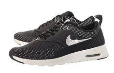 84b6dcc0b827 Nike Women s Air Max Thea Jacquard Limited EDITION w Swarovski Elements -  Dark Grey   Black-White-Metallic Silver