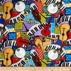 That Funky Jazz All Over Instruments Multi from @fabricdotcom  From Exclusively Quilters, this cotton print fabric is perfect for quilting, crafts, apparel and home decor accents. Colors include red, orange, yellow, green, blue, brown, purple, white, grey and black.