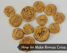 How to make Roman coins from clay - an easy craft project for primary children Coin Crafts, Vbs Crafts, Ancient Roman Coins, Ancient Rome, Ancient History, Easy Craft Projects, Arts And Crafts Projects, Project Ideas, Romans Ks2