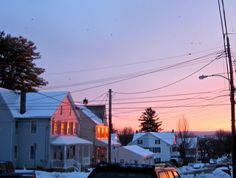 "geopsych: "" Sunrise on our street, with crows and wires. (and snow) """