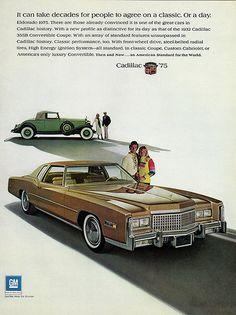 1975 Cadillac Fleetwood Eldorado Coupe and 1932 355B Convertible Coupe Advertisement
