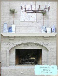 Whitewash brick fireplace tutorial.