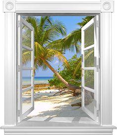 murals wallpaper tropical | ... of Window Murals Tropical Window Mural Series Heron Beach Window Mural