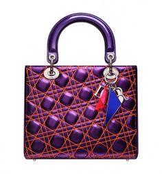 Hot Metallic purple leather \'Lady Dior\' bag with orange \'Cannage\' stitching Sale 7903 Gucci Handbags Outlet, Dior Handbags, Handbags Online, Fashion Handbags, Dior Bags, Dior Fashion, Purple Fashion, Sac Lady Dior, Christian Dior