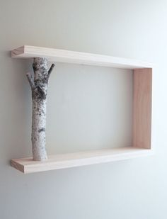 <3. Birch Branch Shelf. Perfect with a birdhouse ornament hanging. Etsy shop-turnings by troy.