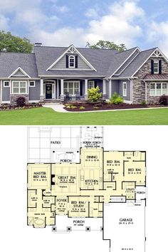 House Plans One Story, New House Plans, Dream House Plans, Modern House Plans, Small House Plans, Bedroom House Plans, House Floor Plans, House Floor Plan Design, Dream Houses