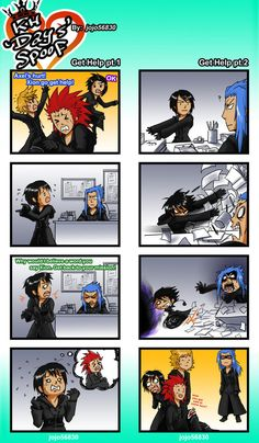 Hilarious spoof of Kingdom Hearts days with Roxas, Xion, Axel, and Saîx Kingdom Hearts 3, Kingdom Hearts Organization 13, Kh 3, Heart Pictures, Funny Games, Illustrations, Funny Comics, Final Fantasy, Memes