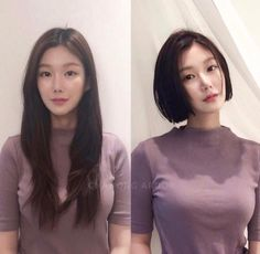 • 3) Hair만으로도 다른사람이~? 헤어스타일 전/후 : 네이버 블로그 Medium Short Hair, Long Hair Cuts, Medium Hair Styles, Short Hair Styles, Short Bob Haircuts, Long Bob Hairstyles, Bun Hairstyles, Korean Long Hair, Neck Length Hair
