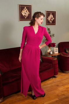Vintage 1940s Dress Stunning Fuchsia Bombshell Rayon by FabGabs
