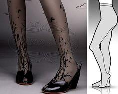 Small/Medium fabulous FOREST SYMPHONY tattoo stockings / full length / pantyhose / nylons Dark GREY