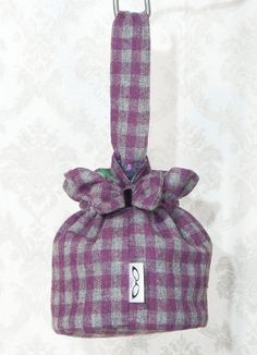 Purple and Grey Plaid Handbag Purple Grey Plaid Purse  Little Purple Gray Plaid Round Handbag. $30.00, via Etsy by Weezi
