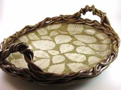 This is a lovely ceramic woodland birch leaf serving tray Botanic2Ceramic