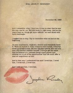 jaqueline kennedy about jfk