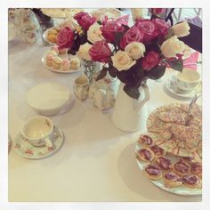 Floral tea set for the High Tea Party #melbournemamma