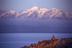 Lake Titicaca, the Island of the Moon,   and the holy mountains of Ancohuma and Illampu, Bolivia