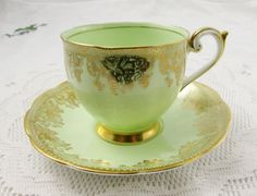 Queen Anne Tea Cup and Saucer, Green Tea Cup with Gold Chintz, Vintage Bone China, Teacup and Saucer