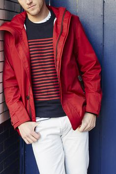 Keep your winter look bright with this men's red parka. Layer it over a red and navy striped sweater for a modern take on a classic nautical look | Banana Republic