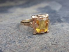 Art Deco Citrine 10k Ring yellow gold by LuceesTreasureChest