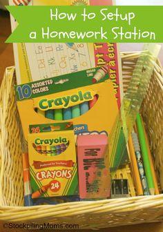 How to setup a Homework Station and help reduce homework stress.