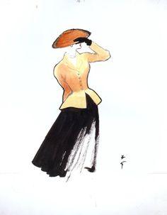 Rene Gruau Art/ Dior New Look