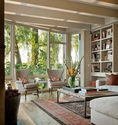 via designed for life. neutral + vintage rug. Modern Lake Washington Residence by NB Design Group