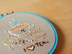 I ♥ Tea Embroidery - Free Pattern