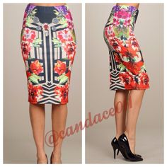 Mirror Print Pencil Skirt ✳️ Bundle to save 15%!✳️ Floral and geometric print Elasticized waist 95% Polyester, 5% Spandex Made in the USA Size Recommendations: S (2-4), M (6-8), L (10-12) CC Boutique  Skirts Pencil