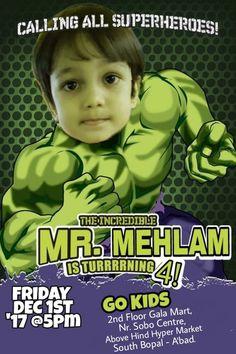 BIRTHDAY INVITATION Birthday Kid Einvite Hulk Hulktheme Party Birthdayparty
