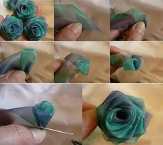 DIY Ribbon out of tape Organza Flowers, Cloth Flowers, Fabric Roses, Faux Flowers, Beaded Flowers, Diy Flowers, Organza Ribbon, Diy Ribbon, Ribbon Work