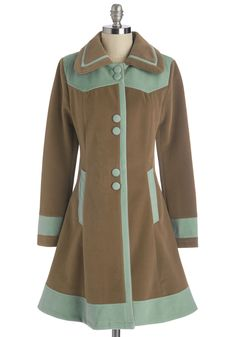 Seated by the Stage Coat. You drape your long brown coat over the back of your chair and marvel at how close you are to the musical action! #brown #modcloth