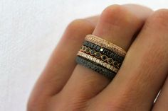 Sethi Couture Ring Stack - The No. 3 ring stack created by Sethi Couture featuring a stunning color palette of rose gold, pink - Vintage Diamond, Vintage Rings, Diamond Wedding Bands, Wedding Rings, Silver Jewelry, Fine Jewelry, Silver Earrings, Black Diamond Jewelry, Silver Ring