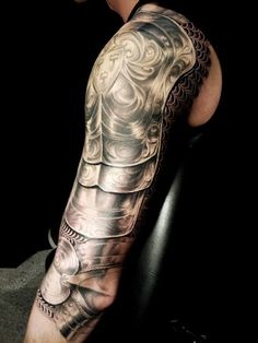 3d realistic armor tattoo on shoulder and arm