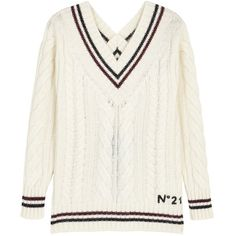 No.21 Ivory Cable-knit Wool Blend Jumper - Size 10 (£760) ❤ liked on Polyvore featuring tops, sweaters, open-back tops, chunky cable knit sweaters, cable jumper, white ribbed sweater and winter white sweater