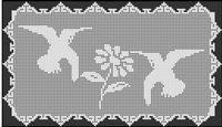 Filet Crochet Patterns - Doilies/Runners - HUMMINGBIRDS DAISY Runner FILET CROCHET PATTERN
