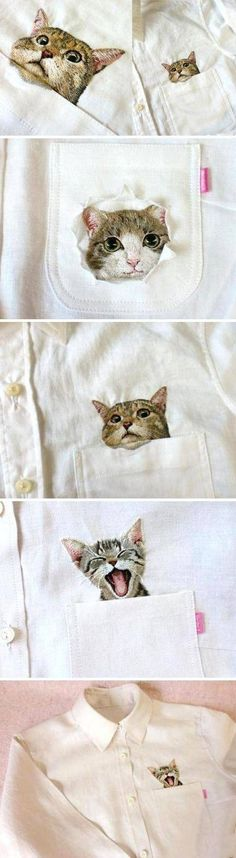 Someday, all my clothing will have cats embroidered on it.  Someday. Hiroko Kubota