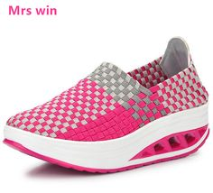 Summer sneakers hand-woven women's running shoes outdoor zapatillas mujer breathable quick-drying sports shoes Thick bottom