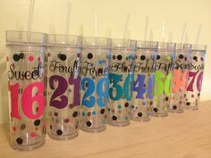 Cricut Projects Discover Milestone birthday Personalized drinkware polka dots Available in sport bottle skinny kiddie & XL Tumbler Vinyl Tumblers, Acrylic Tumblers, Custom Tumblers, Glitter Tumblers, Custom Mugs, Personalized Pencils, Personalized Tumblers, Personalized Gifts, Vinyl Crafts