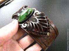 Купить Браслет кожаный резной Бьюти - зеленый, коричневый, шоколадный, браслет кожаный, купитьбраслет кожаный