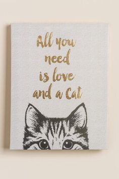 All You Need Is Love and A Cat Canvas Wall Decor- Francesca's- $20.00