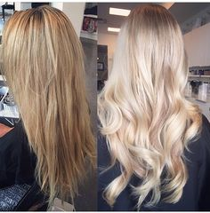 Pin von Andria Ullett auf Beauty im Jahr 2019 - Cool Style Blonde Hair Looks, Baby Blonde Hair, Cooler Style, Hair Color Balayage, Light Blonde Balayage, Hair Color And Cut, Pinterest Hair, Hair Transformation, Dyed Hair