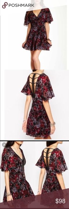 Free people perfect dream berry combo dress Gorgeous black and red floral rose dress. Fun and flirty and great paired with boots Free People Dresses