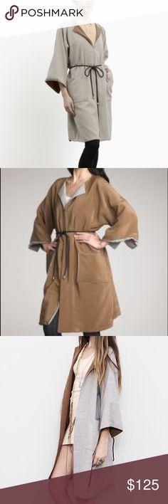 💥24 HR SALE💥Elizabeth and James Reversible Coat SALE TODAY ONLY💥Three-quarter sleeve reversible wool kimono coat in gravel. Boatneck collar. Hook-eye front closure. Checkered black leather wraparound tie. Brown interior. Tone on tone stitching. Shell: 100% wool. Lining: 100% silk. Dry clean. Imported. Small stain on silk side (pictures). Otherwise, in perfect condition! M/L. Loose fit with plenty of room!  SALE PRICE FIRM! Use bundle discount! 🚫 trades. If I want something in your closet…