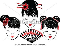 Vector - Three portraits of Asian girls - stock illustration, royalty free illustrations, stock clip art icon, stock clipart icons, logo, line art, EPS picture, pictures, graphic, graphics, drawing, drawings, vector image, artwork, EPS vector art
