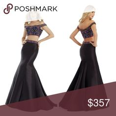 morrell maxie 2pc prom dress sizw 6 new with tags Stand strong in a poised gown from Morell Maxie. An off-shoulder top radiates with multicolored beading in a festive design to a crop top appeal. Made by Morrell Maxie. Beaded off-shoulder two-piece mermaid gown from Morell Maxie. Great as Prom Mermaid Dress, Prom CutOut Dress. Morrell Maxie Dresses Prom