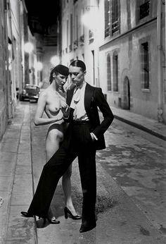 Helmut Newton & YSL, Rue Aubriot, French Vogue, 1975. Model Vibeke Knudsen by Helmut Newton