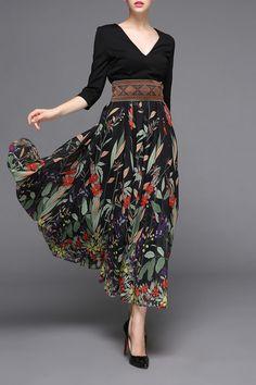 Ziyi Black V-Neck Print Ruffle Dress | Maxi Dresses at DEZZAL