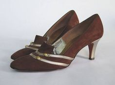 1960s Brown & Gold Pumps  ||  Vintage 60s High Heels  ||  60s Shoes Size 7 US