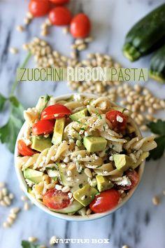 Zucchini Ribbon Pasta with Tomatoes & Avocado