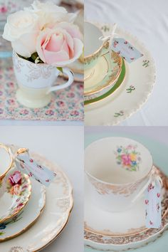 IDEA for CHANGING UP the DISHES: vintage china table settings purchased at flea markets!